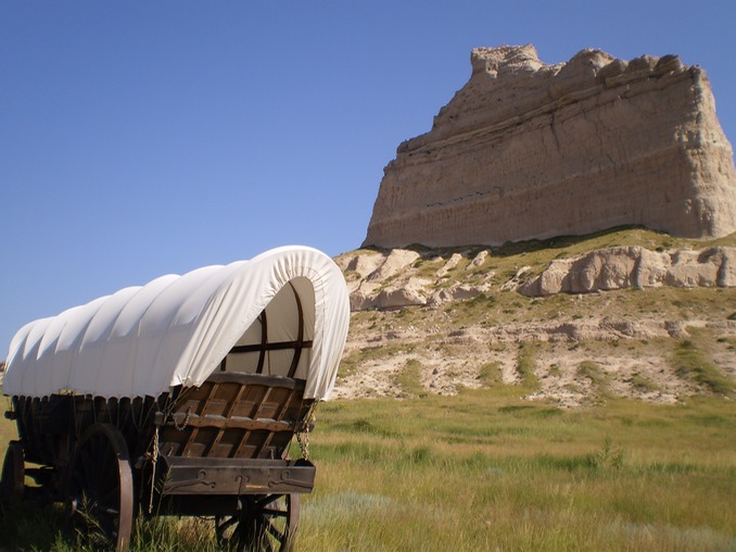 Covered Wagon In Scotts Bluff National Monument, Nebraska